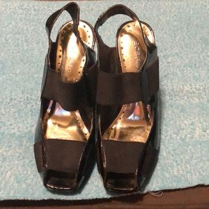 BCB GIRLS PATENT LEATHER WEDGES